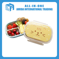 good selling lovely plastic lunch box with fork and knife