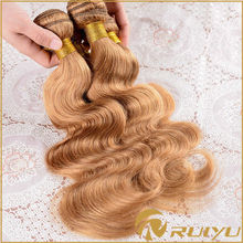 Top quality double drawn 100% brazilian hair 8 inch virgin remy brazilian hair weft brazilian curly blonde hair