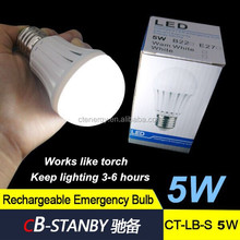 CB-standy Back-up battery Finger control High Luminous rechargeable LED emergency bulb light built in 1200mAh battery 5w
