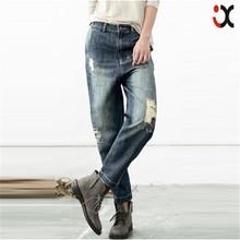 mid waist vintage straight denim pants latest design ripped jeans men JXQ014