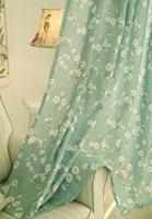 China curtain bule flower print blackout curtain fabric heat tranfer printing curtain