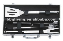 3 pcs stainless steel BBQ tools with case pack