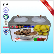 Fried frozen yogurt/Soft ice cream machine /Double flat round pans fry roll ice cream machine