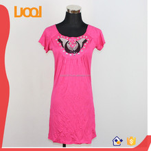 custom embroidery t-shirt dress with rhinestone stamp