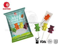 Bear shaped fruit flavored lollipop