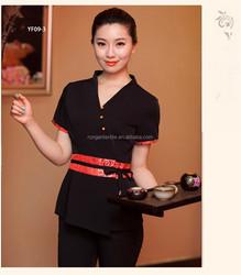 Newest 100% cotton Black salon and spa uniform