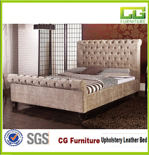American luxury furniture white leather diamond bed leather upholstered bed hotel bed