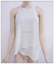 OEM service type woman's double layers chiffon blouse, irregular bottong hem blouse, sleeveless top