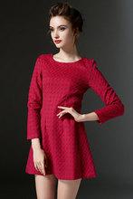 Women lady girl Casual Dresses 8060 # Europe America plus thick velvet wter woolen long-sleeved round neck Slim Polka Dot Dr