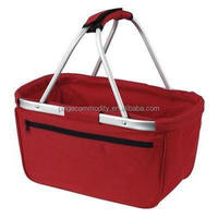 oxford aluminum frame folding cloth picnic shopping basket,market tote