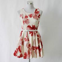 OEM service China manufacturer wholesale high round neckline new ladies flower dress
