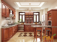 European style cherry finished wooden kitchen cabinet for sale
