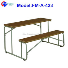 Wood top and metal frame school table bench for pray room FM-A-423