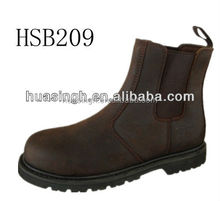 high level market crazy horse leather 2015 fashion pull on safety boots with steel toe and midsole