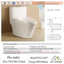 Inodoros sin tanque de una pieza con lavado a fondo hechos de cerámica con sistema sifónico para ahorro de agua