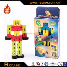 Small flexible magic wooden cube toys robot