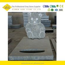 Lovely teddy bear Light grey Granite headstone, pet granite mini tombstone