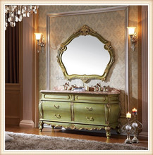 Classical&antique bathroom cabinet with natural premium marble top with four drawers