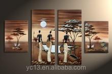 4 pcs panel handmade african landscape artwork painting PL-84