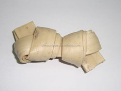 pet food knotted bone bleached white rawhide dog treats chews