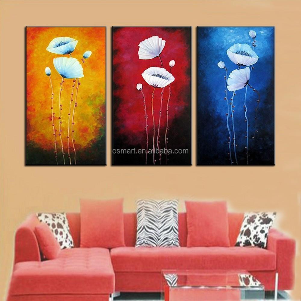 بسيطة 3 لوحات لوحات الفن الحديث زهرة وحة زيتية