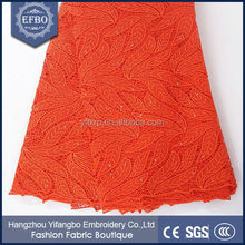 New arrival Orange Leaf embroidery designs wedding embroidery lace fabric / guipure lace fabric 2015 cord lace with stones