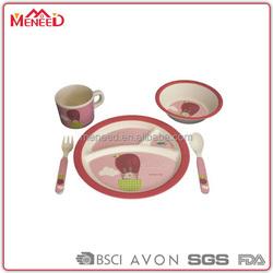 5pcs Child safe OEM&ODM unbreakable BPA free kids dinner ware set