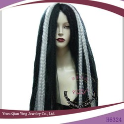 Fashion cheap wholesale black and white synthetic halloween party wig