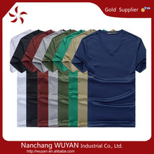cotton v neck t shirt/plain t shirt v neck design/mens slim fit t shirt China wholesale