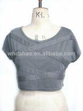 cuello redondo mangas cortas de la mujer blusas