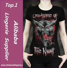 New style popular black print cheap t shirts