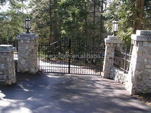WH-15G7178 Great castle rocky wall wrought iron garage gate
