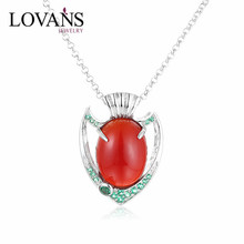 Clasical Follower Shade Red Agate Sterling Silver Crystal Point Pendent Green CZ Stone Necklace SPG571W