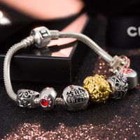 T400 jewelry charm bracelet 925 sterling silver and 999 gold beads with crystal new year gift