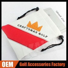 OEM/ODM Logo PU Leather Golf Valuables Pouch/Drawstring Pouch For Golf Gift