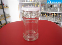 cheap 200ml transparent glass pickle bottles/jars with metal lid wholesale