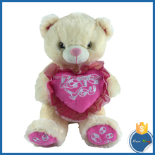25cm sitting plush animal design plush bear with soft heart