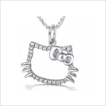 2015 newest girls fashion hello kitty cat shaped 925 silver interchangeable pendant necklace