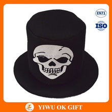 Composite saffeta flattop Halloween hat, skull print on hat, party hat manufacturers