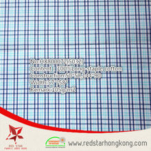 wholesale 100% cotton long stapled blue and cyan check fabric