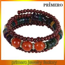 PRIMERO DIY handmade wooden bead string bracelet Stretch beaded Bangle elastic rosary bracelet