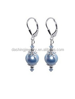 High Quality Sterling Silver Blue Simulated Pearl silver earring long