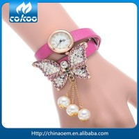 2015 Women's Fashionable Butterfly Rhinestone Decorated Analog Leather Wrist Watch 10 Colors