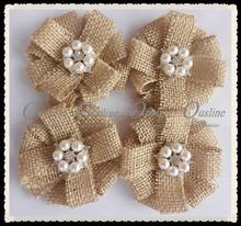 Pearl and rhinestone burlap flower hair clip, bridal headpiece