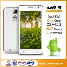 """Low MOQ OEM ok Welcome OMES MG3 5.0inch 3G android 5"""" dual core unlocked cell phone"""