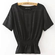 MS70796L Newest style women 3 colors elastic waist blouse ladies tops latest fashion