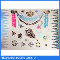 Beautiful Body Leopard Tattoo Crown and Feather Custom Waterproof Printing Paper