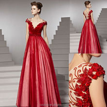 FVLB2038 Red evening gown elegant long a line christmas party formal evening dress 2014