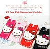 Factory Wholesale 2015 Newest 3D Lovely Cute Cartoon Hello Kitty Soft Rubber Silicone diamond Case Cover For iphone 6 6+ plus