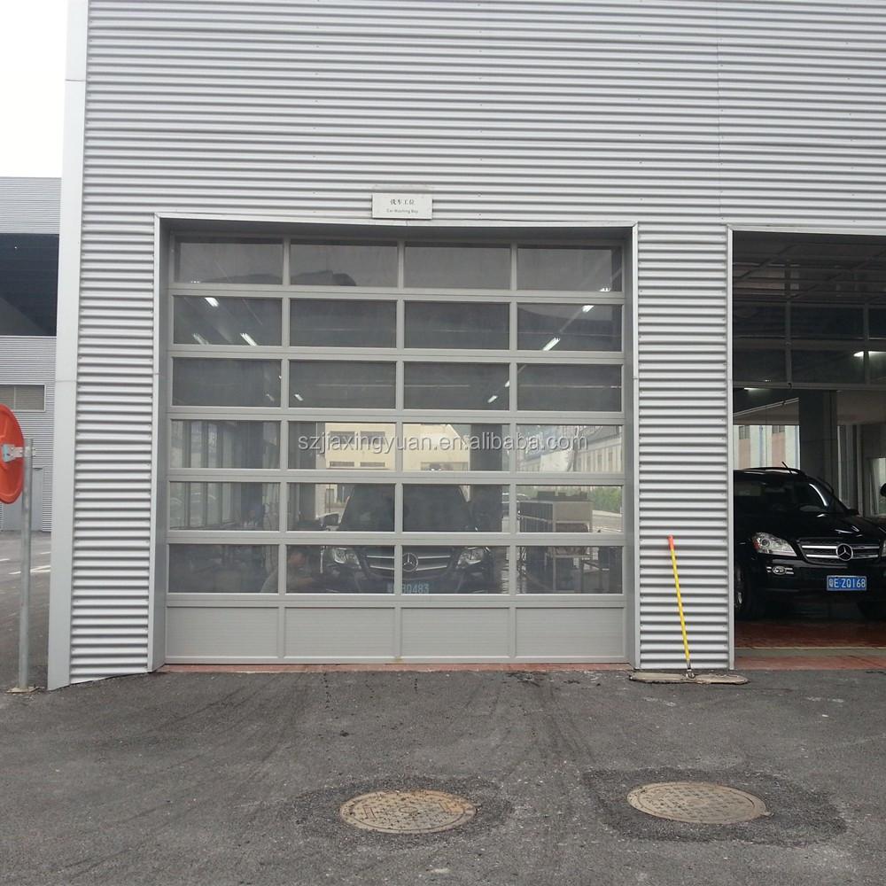 Aluminum frame frosted glass transparent garage door for Opaque garage door